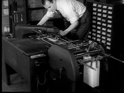 1954 B/W MONTAGE HA CU PAN Punch cards going through machine / MS Man working on machine / CU PAN Machines processing social security checks  / USA
