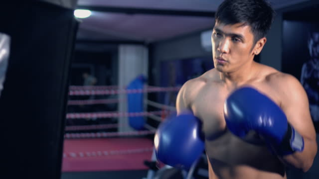 Punching bag workout,Video 4k.