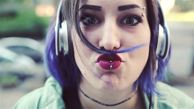 punk babe make crazy face! - rocking stock videos & royalty-free footage