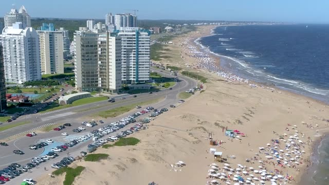 punta del este beach, aerial view, drone point of view, uruguay - montevideo stock videos & royalty-free footage