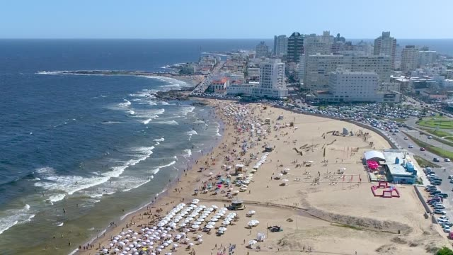 punta del este beach, aerial view, drone point of view, uruguay - uruguay stock videos & royalty-free footage