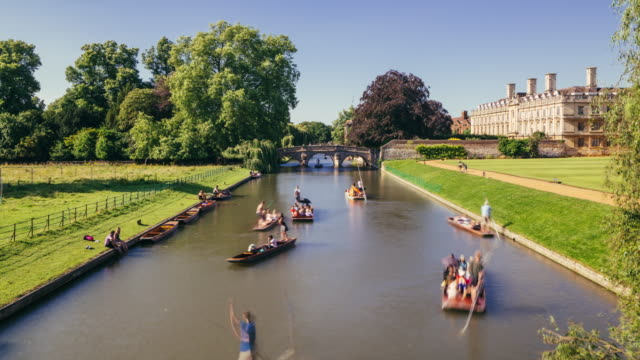 punting cambridge timelapse - cambridge england stock videos and b-roll footage
