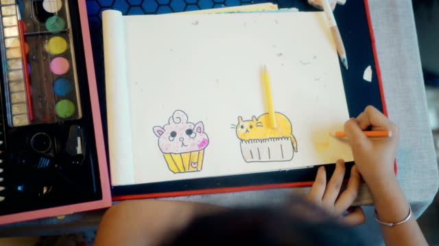 pupils drawing at home - primary age child stock videos & royalty-free footage