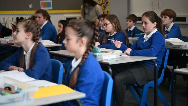pupils take part in their lessons as classes return to gamlingay village primary on march 08, 2021 near bedford, united kingdom. the school, which is... - studying stock videos & royalty-free footage