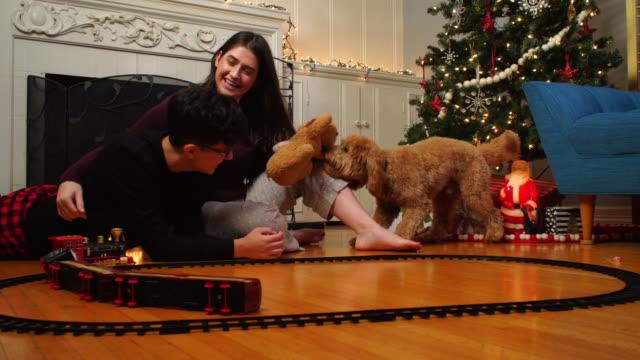 vidéos et rushes de chiot jouant avec des jouets, train et ses propriétaires sur noël - accident domestique