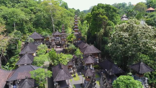 aerial ws pura gunung lebah temple, ubud, bali, indonesia - campuhan stock videos & royalty-free footage