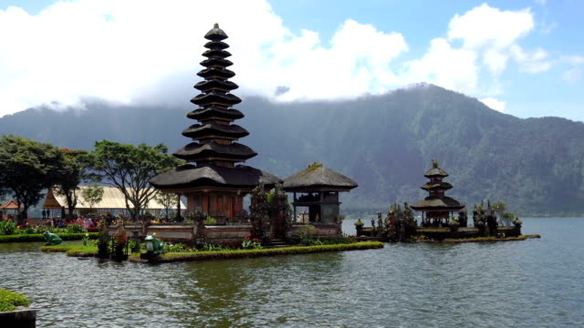pura ulu danau temple with cloud sky,bali,indonesia - pura ulu danau temple stock videos & royalty-free footage