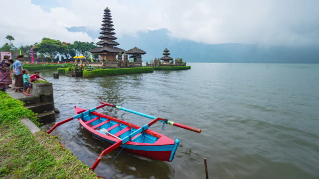 pura ulun danu bratan, hindu temple on bratan lake landscape, one of famous tourist attraction in bali, indonesia - pura ulu danau temple stock videos & royalty-free footage