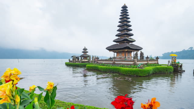 pura ulun danu bratan is a major water temple on lake bratan, bali, indonesia - pura ulu danau temple stock videos & royalty-free footage