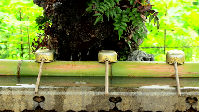 purification trough with bamboo dippers - shrine stock videos and b-roll footage