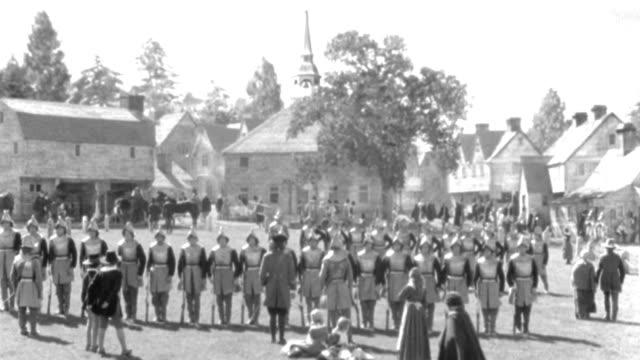 puritan soldiers perform a drill in a town square in salem, massachusetts. - salem stock videos & royalty-free footage