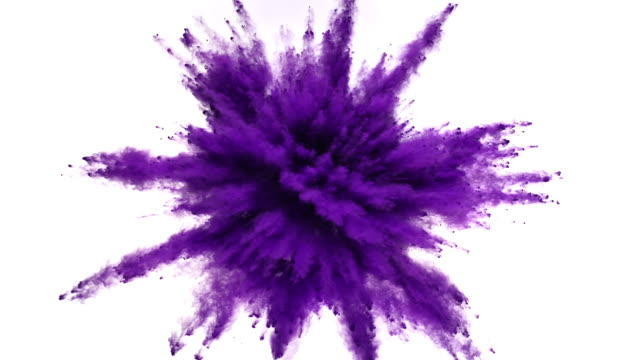 purple colored powder exploding towards camera in close up and super slow-motion, white background - purple stock videos & royalty-free footage