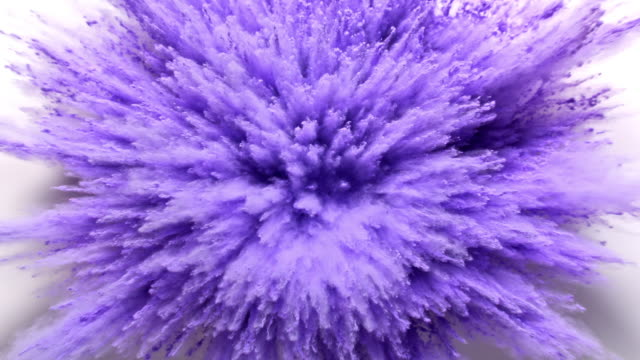 purple colored powder exploding towards camera in close up and super slow-motion, white background - purpur bildbanksvideor och videomaterial från bakom kulisserna