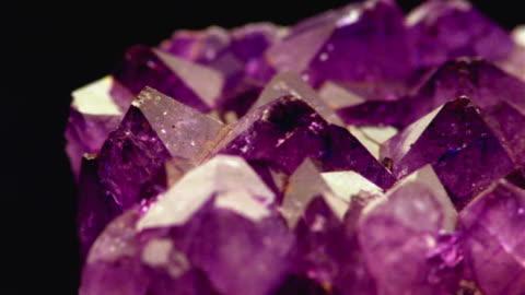 ecu, pan, selective focus, purple crystal - mineral stock videos & royalty-free footage