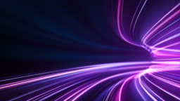 Purple High Speed Light Streaks Background - Abstract, Data Transfer, Bandwidth - Loopable