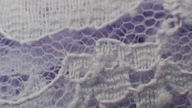 Purple Lace Floral Pattern Texture Fabric Macro Close-up Zoom