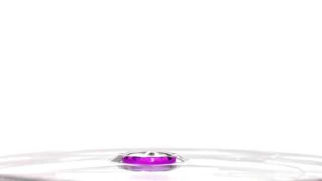 purple liquid dropping into water and splashing - splashing droplet stock videos & royalty-free footage