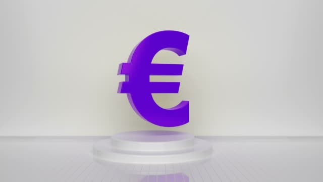 purple loop euro symbol on white background - british pound sterling note stock videos & royalty-free footage