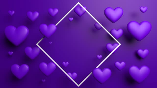 purple looped valentine's day hearts with frame - poster template stock videos and b-roll footage
