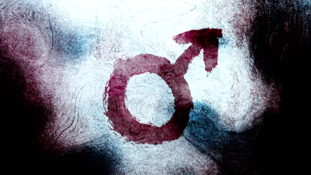 purple mars, male, gender symbol on a high contrasted grungy and dirty, animated, distressed and smudged 4k video background with swirls and frame by frame motion feel with street style for the concepts of gender equality, women-social issues - gender symbol stock videos & royalty-free footage