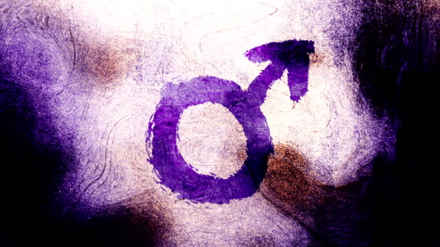 purple mars, male, gender symbol on a high contrasted grungy and dirty, animated, distressed and smudged 4k video background with swirls and frame by frame motion feel with street style for the concepts of gender equality, women-social issues - gender symbol stock videos and b-roll footage