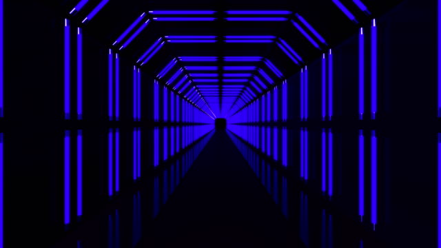 Purple Neon Lights Tunnel