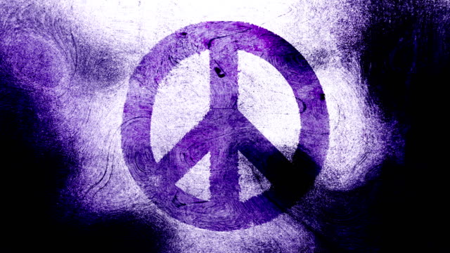 Purple peace symbol on a high contrasted grungy and dirty, animated, distressed and smudged 4k video background with swirls and frame by frame motion feel with street style for the concepts of peace, world peace, no war, protest, and tranquility