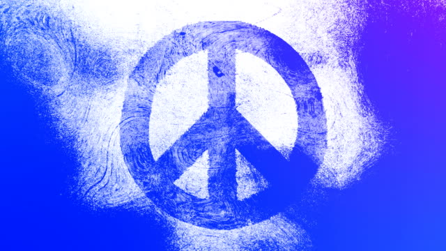 purple peace symbol on a high contrasted grungy and dirty, animated, distressed and smudged 4k video background with swirls and frame by frame motion feel with street style for the concepts of peace, world peace, no war, protest, and tranquility - smudged stock videos & royalty-free footage
