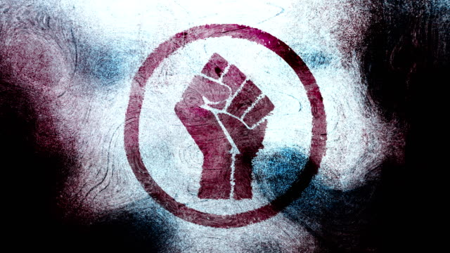 purple raised fist symbol on a high contrasted grungy and dirty, animated, distressed and smudged 4k video background with swirls and frame by frame motion feel with street style for the concepts of solidarity,support,human rights,worker rights,strength - smudged stock videos & royalty-free footage
