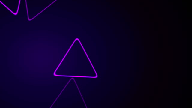 Purple retro neon shiny triangles motion background