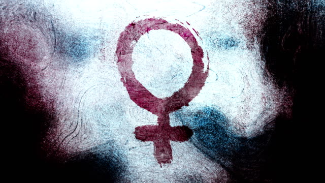 Purple Venus, female, gender symbol on a high contrasted grungy and dirty, animated, distressed and smudged 4k video background with swirls and frame by frame motion feel with street style for the concepts of gender equality, women-social issues