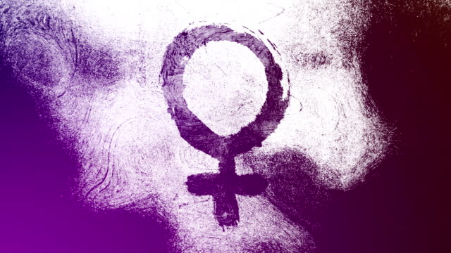 purple venus, female, gender symbol on a high contrasted grungy and dirty, animated, distressed and smudged 4k video background with swirls and frame by frame motion feel with street style for the concepts of gender equality, women-social issues - gender symbol stock videos and b-roll footage