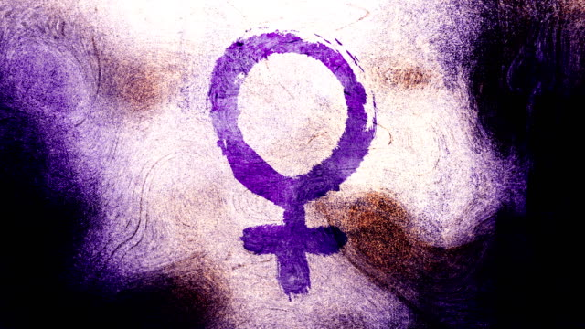 purple venus, female, gender symbol on a high contrasted grungy and dirty, animated, distressed and smudged 4k video background with swirls and frame by frame motion feel with street style for the concepts of gender equality, women-social issues - gender symbol stock videos & royalty-free footage