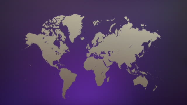 ws, purple world map with silhouettes of continents - world map stock videos & royalty-free footage