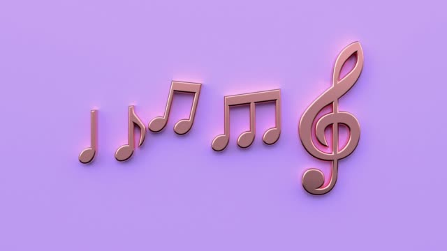 purple/violet scene minimal 3d rendering gold copper metallic music note - arte, cultura e spettacolo video stock e b–roll