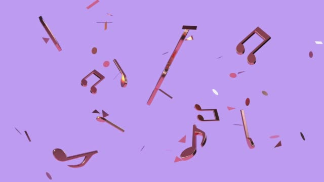purple/violet scene minimal 3d rendering gold copper metallic music note - musical note stock videos & royalty-free footage
