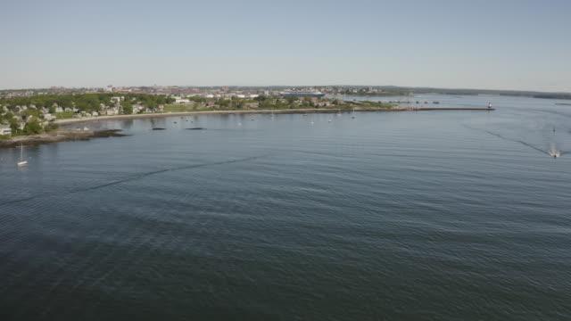 push in shot of the coastline of south portland - north atlantic ocean stock videos & royalty-free footage