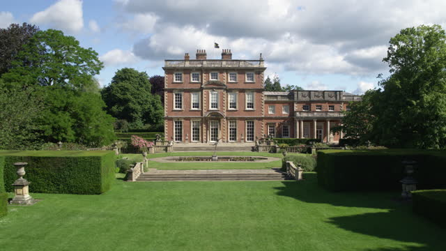 push in shot of the front of newby hall - pond stock videos & royalty-free footage
