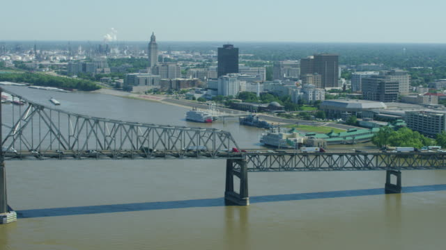 push out shot of downtown baton rouge - baton rouge stock-videos und b-roll-filmmaterial