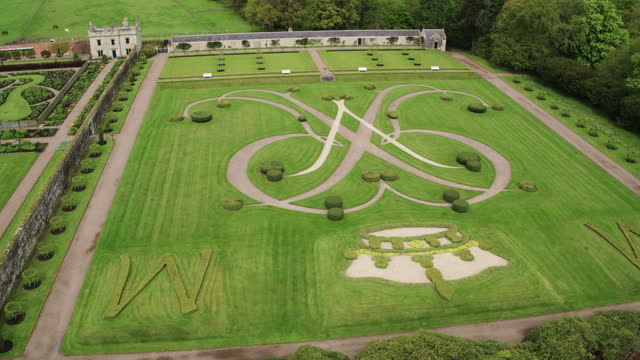 push out shot of the millennium parterre at floors castle - botany stock videos & royalty-free footage