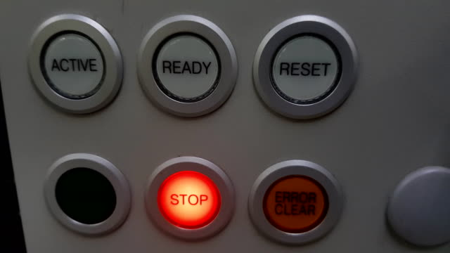 push red button to shutdown temperature control machine in factory - power supply stock videos & royalty-free footage