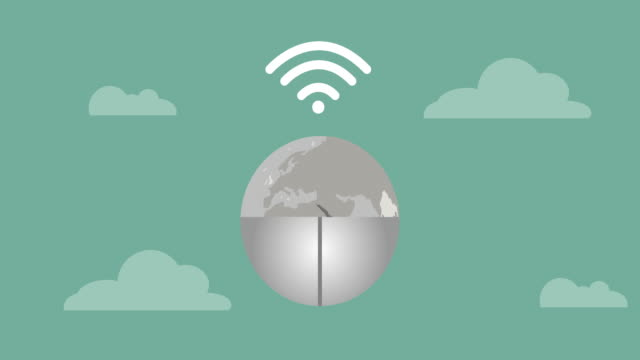 Push the mouse icon Wifi Video animation.