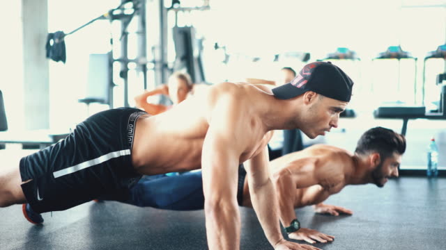 Push up round in a gym.