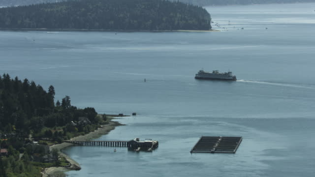 Push-in shot of a salmon farm near Bainbridge Island