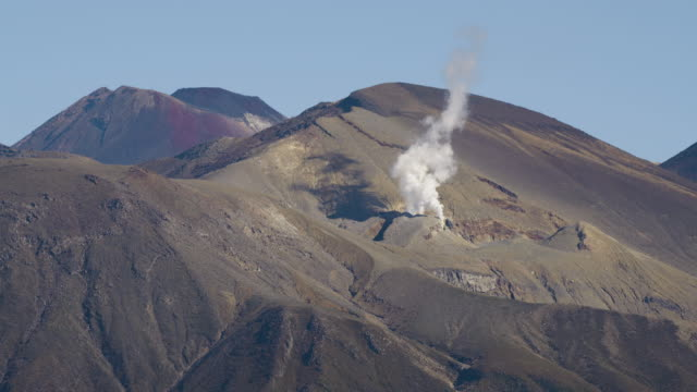 push-in shot of a steam vent of the te mari crater - ngauruhoe stock videos & royalty-free footage