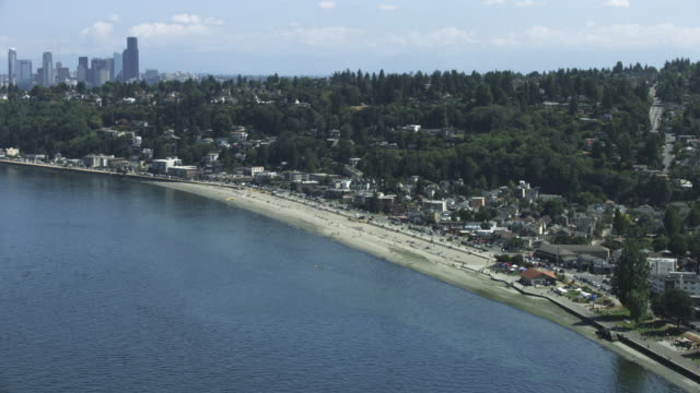 push-in shot of the alki beach park - seattle stock videos & royalty-free footage
