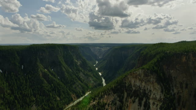 push-in shot of the grand canyon of the yellowstone - river yellowstone stock videos & royalty-free footage