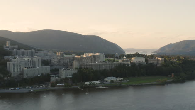 push-in shot of the west point academy at sunset - west point new york stock videos & royalty-free footage