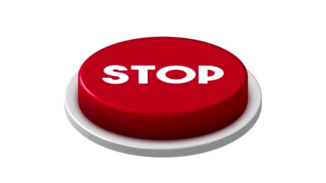 vídeos y material grabado en eventos de stock de presionando 4k red stop button animation sobre fondo blanco y verde - señal de stop
