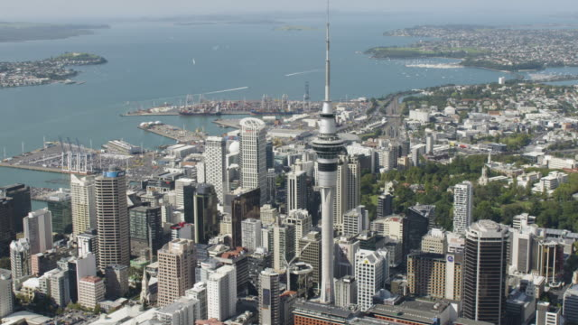 push-out shot of the sky tower in downtown auckland - bay of water stock videos & royalty-free footage